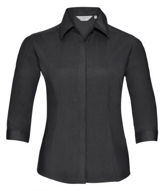 R Coll Lds 3/4 Slve Poplin Shirt Black 4XL (926F BLK 4XL)