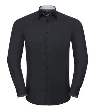 R Coll L/S Contrast Ult. Stretch Shirt Black/oxford grey 4XL (966M BK/OG 4XL)