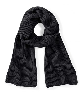 Beechfield Metro Knitted Scarf Black ONE (BB469 BLK ONE)