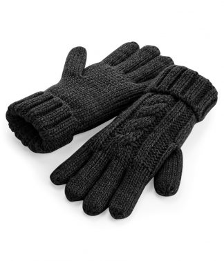 B/field Cable Knit Melange Gloves Black L/XL (BB497 BLK L/XL)