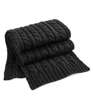 B/field Cable Knit Melange Scarf Black ONE (BB499 BLK ONE)
