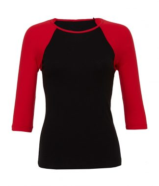 Bella 3/4 Slve Contrast T Black/red XL (BL2000 BK/RD XL)