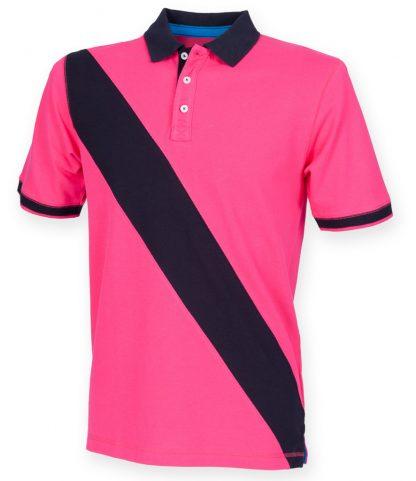 Front Row Diag Stripe House Polo Shirt Bright pink/navy XXL (FR212 BP/NV XXL)