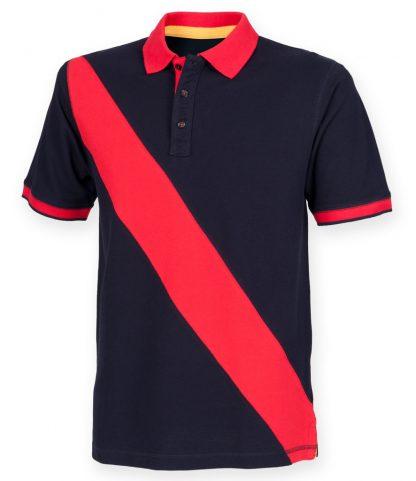 Front Row Diag Stripe House Polo Shirt Navy/red XXL (FR212 NV/RD XXL)