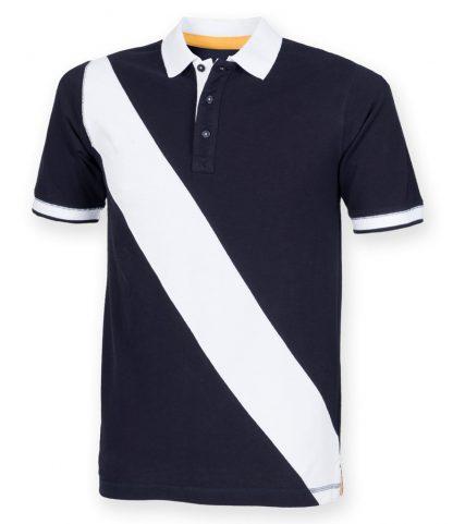 Front Row Diag Stripe House Polo Shirt Navy/white XXL (FR212 NV/WH XXL)