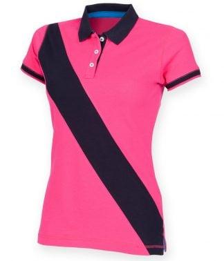 Front Row Lds Diag Stripe House Polo Shirt Bright pink/navy XXL/18 (FR213 BP/NV XXL/18)