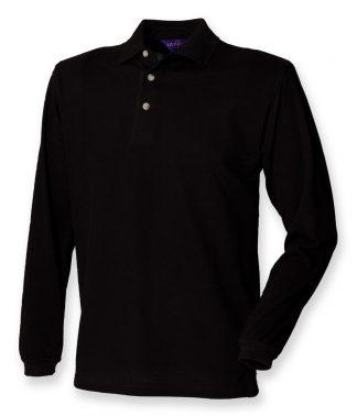 Henbury Classic L/S Polo Black XXL (H105 BLK XXL)