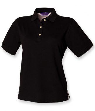 Henbury Ladies Pique Polo Black 18 (H121 BLK 18)