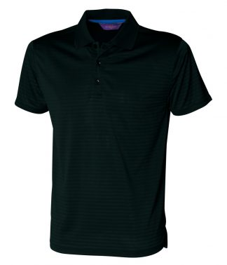 Henbury Cooltouch Textured Stripe Polo Black XXL (H473 BLK XXL)