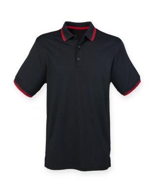 Henbury Tipped Coolplus Polo Black/red 3XL (H482 BK/RD 3XL)