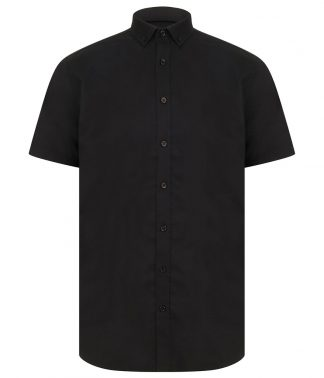 Henbury Modern S/S Oxford Shirt Black 4XL/R (H517R BLK 4XL/R)