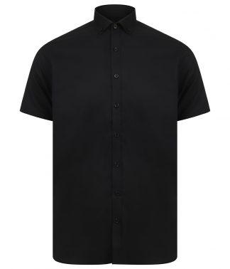Henbury Modern S/S Slim Fit Oxf. Shirt Black XXL (H517S BLK XXL)