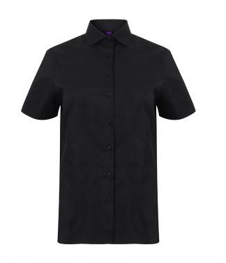 Henbury Ladies S/S Stretch Shirt Black 4XL (H538 BLK 4XL)