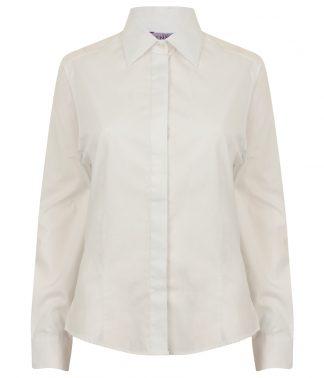 Henbury Lds L/S Oxford Shirt White 3XL20 (H551 WHI 3XL20)