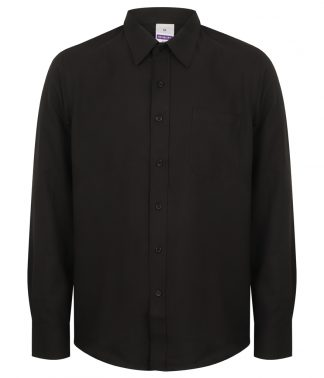 Henbury L/S Wicking Shirt Black 4XL (H590 BLK 4XL)