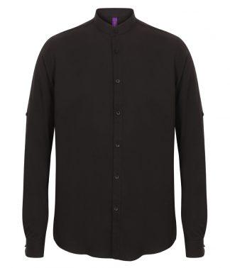 Henbury Mandarin Roll Slve Shirt Black XXL (H592 BLK XXL)