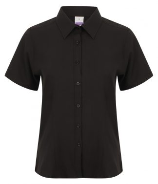 Henbury Ladies S/S Wicking Shirt Black 4XL/22 (H596 BLK 4XL/22)