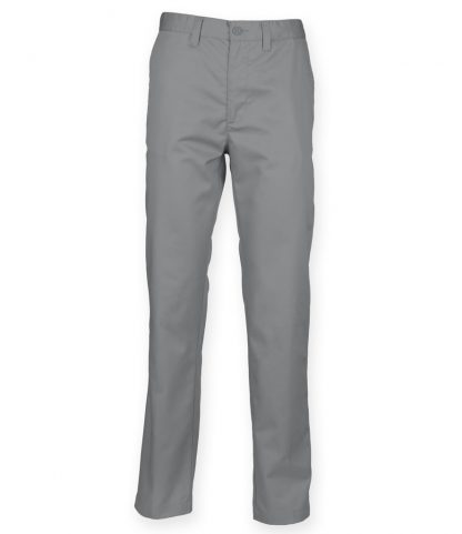 Henbury Lds 65/35 Flat Fronted Chinos Steel grey 22/L (H641 STE 22/L)
