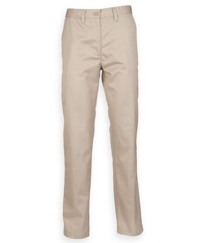 Henbury Lds 65/35 Flat Fronted Chinos Stone 22/L (H641 STO 22/L)