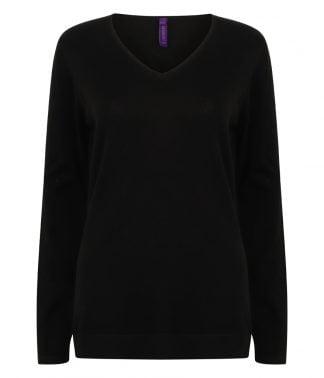 Henbury Lds 12g V Nk Sweater Black 4XL (H721 BLK 4XL)