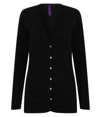 Henbury Lds V Button Cardigan Black 4XL (H723 BLK 4XL)