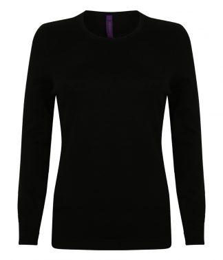 Henbury Lds Crew Neck Sweater Black XXL (H728 BLK XXL)