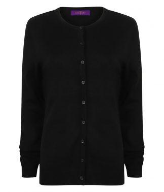 H762 - Henbury Ladies Cashmere Touch Acrylic Crew Neck Cardigan - Black
