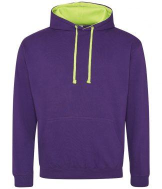 AWDis Super Bright Hoodie Purple/elec. green XXL (JH013 PR/EG XXL)