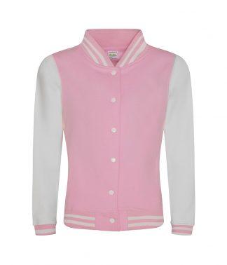 AWDis Womens Varsity Jacket Baby pink/arc. whi. XL (JH043F BPI/A XL)