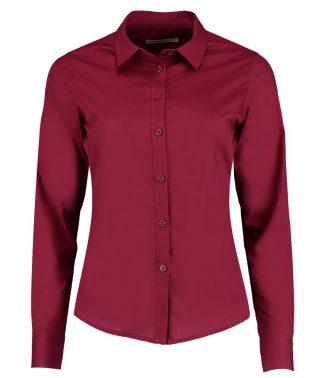 Kus. Kit Lds T/F L/S Poplin Shirt Claret 28 (K242 CLA 28)