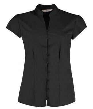 Kus. Kit Lds T/F Mandarin Blouse Black 20 (K727 BLK 20)