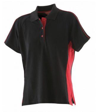 F/Hales Lds Sports Polo Black/red XXL (LV323 BK/RD XXL)