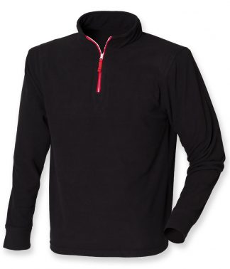 F/Hales L/S Piped Zip Neck Fleece Black/red XXL (LV570 BK/RD XXL)