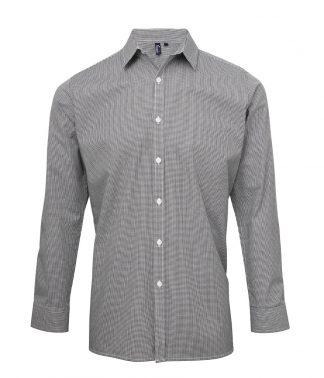 Premier Microcheck L/S Shirt Black/white 3XL (PR220 BK/WH 3XL)