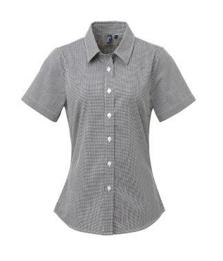 Premier Lds Microcheck S/S Shirt Black/white 3XL (PR321 BK/WH 3XL)