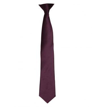 Premier Colours Satin Clip Tie Aubergine ONE (PR755 AUB ONE)