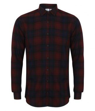 SFMen Casual Check Shirt Burgundy XXL (SF560 BUR XXL)