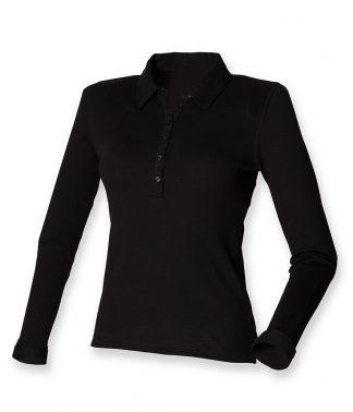 SF Ladies L/S Stretch Polo Black XL (SK44 BLK XL)