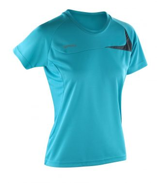 Spiro Ladies Dash Training Shirt aqua/grey XL/16 (SR182F AQ/GY XL/16)