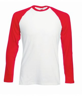 Fruit Loom L/S Baseball T White/red 3XL (SS32 WH/RD 3XL)