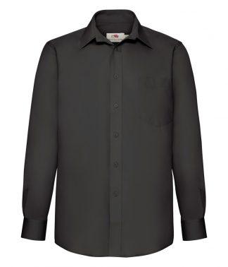 Fruit Loom L/S Poplin Shirt Black 3XL (SS412 BLK 3XL)