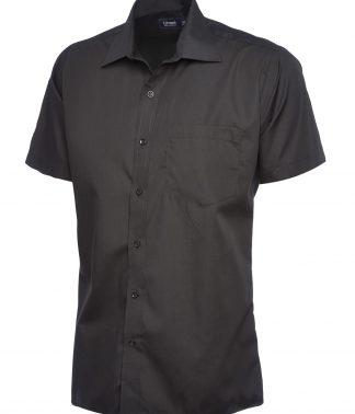 Uneek Mens Poplin Half Sleeve Shirt - Black