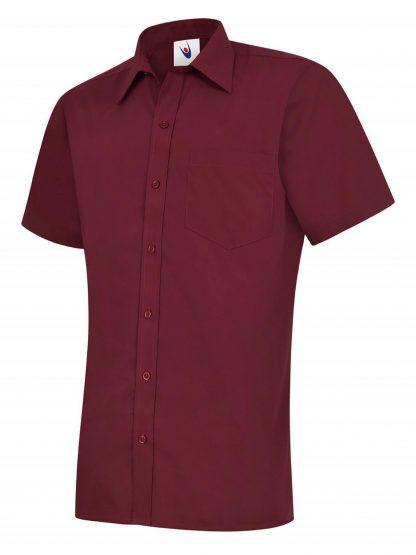 Uneek Mens Poplin Half Sleeve Shirt - Burgundy