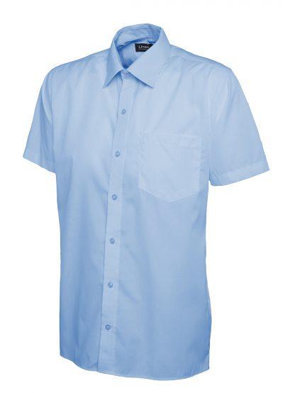 Uneek Mens Poplin Half Sleeve Shirt - Light Blue