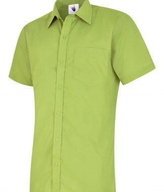 Uneek Mens Poplin Half Sleeve Shirt - Lime