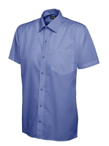 Uneek Mens Poplin Half Sleeve Shirt - Mid Blue