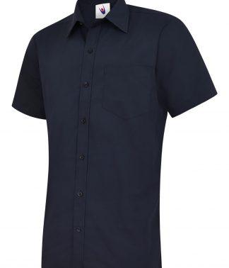 Uneek Mens Poplin Half Sleeve Shirt - Navy
