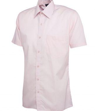 Uneek Mens Poplin Half Sleeve Shirt - Pink