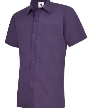Uneek Mens Poplin Half Sleeve Shirt - Purple