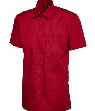 Uneek Mens Poplin Half Sleeve Shirt - Red